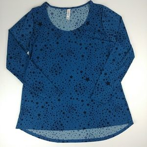 Lularoe Lynnae long sleeve top blue with stars